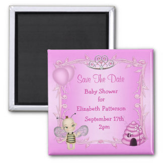 Baby Bee Pink Princess Baby Shower Save The Date Refrigerator Magnet
