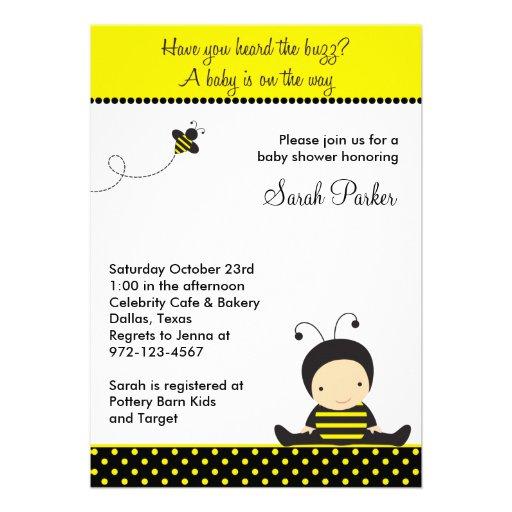 baby bee shower invitations custom invites zazzle