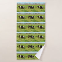 Baby Belted Galloway Cows In Country, Bath Towel