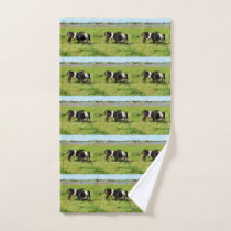 Baby Belted Galloway Cows In Country, Hand Towel