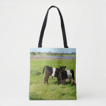 Baby Belted Galloway Cows In Country, Tote Bag