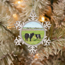 Baby Belted Galloway Cows In The Country, Snowflake Pewter Christmas Ornament