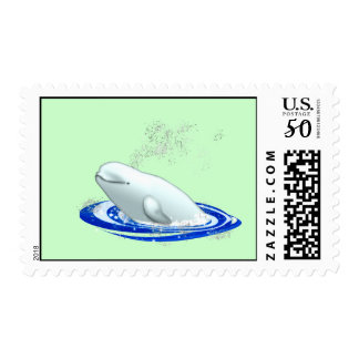 Baby Beluga Whale on Sea Green Postage Stamp