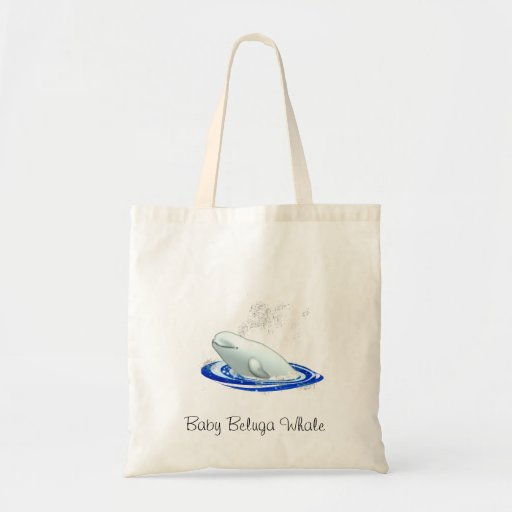 Baby Beluga Whale Tote Canvas Bags