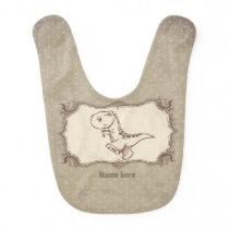 Baby Bib , boy - vintage dinosaur