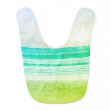 Beach Themed baby bib lime green aqua sunset