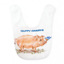 Baby bib - Pig and Bird