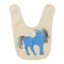 Baby bib unicorn pony