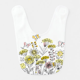 Baby bib with flowers and butterflies