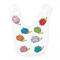 Baby bib with funny multicolor hedgehogs