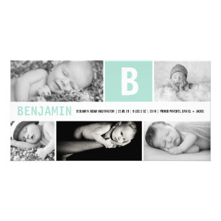 Baby Big Initial Multi Photo Birth Announcement