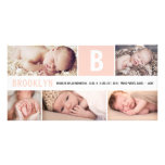 Baby Big Initial Multi Photo Birth Announcement Photo Card