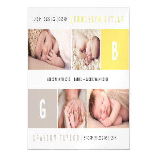 Baby Big Initial Photo Twins Birth Announcements