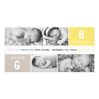 Baby Big Initial Photo Twins Birth Announcements Photo Card
