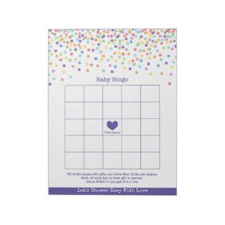 Baby Bingo Confetti Theme Baby Shower Game Notepad