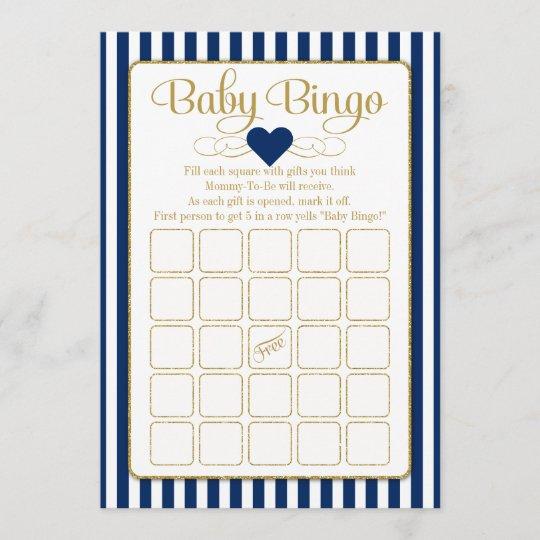 Baby Bingo Navy Blue Gold Baby Shower Game Cards Zazzle Com