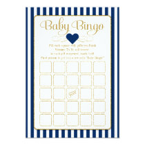Baby Bingo Navy Blue Gold Baby Shower Game Cards