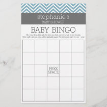 Baby Bingo - Pastel Blue Chevrons Shower Game