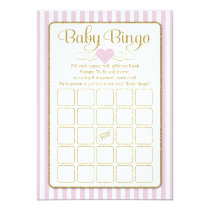 Baby Bingo Pink Gold Girl Baby Shower Game Cards