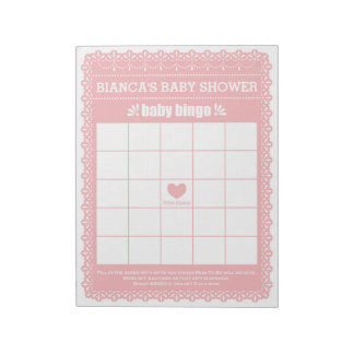 Baby Bingo Pink Papel Picado Baby Shower Game Notepad