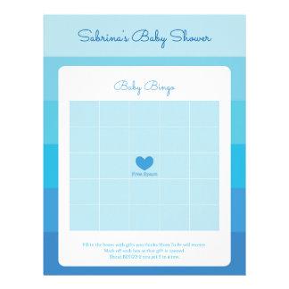 Baby Bingo Rubber Blue Ombre Stripes Baby Shower Letterhead