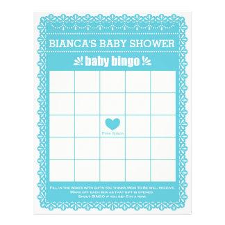 Baby Bingo Rubber Blue Papel Picado Baby Shower Letterhead