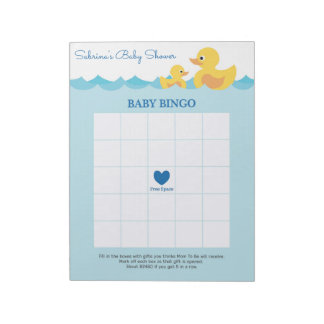 Baby Bingo Rubber Duck Baby Shower Game Notepad