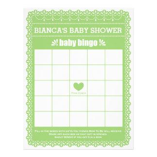 Baby Bingo Rubber Green Papel Picado Baby Shower Letterhead