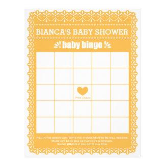 Baby Bingo Rubber Orange Papel Picado Baby Shower Letterhead