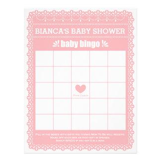 Baby Bingo Rubber Pink Papel Picado Baby Shower Letterhead