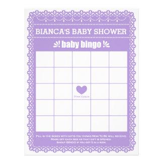 Baby Bingo Rubber Purple Papel Picado Baby Shower Letterhead