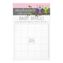 Baby Bingo - Shower Games Pink Cute Owls Girl Flyer