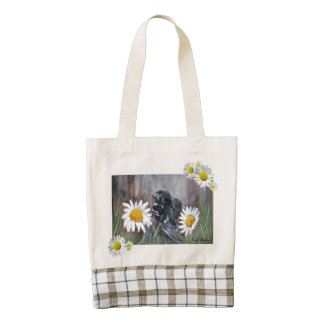 Baby Bird in Daisies Painting Tote
