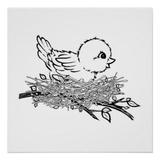 Baby Bird In Nest Poster