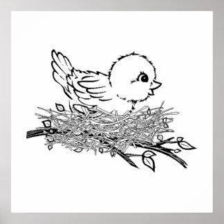 Baby Bird In Nest Poster