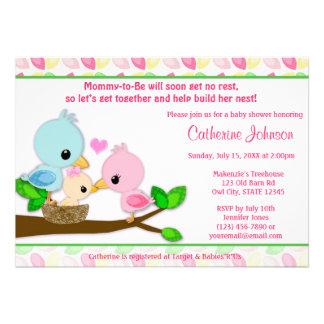 Baby Bird Nest Baby Shower Invitations GIRL Family
