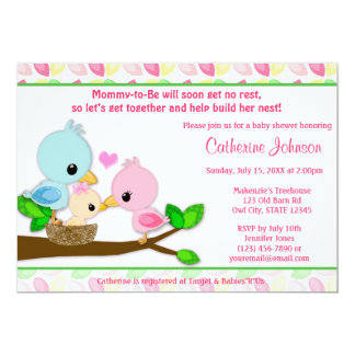 pink bird baby shower invitations  announcements  zazzle, Baby shower invitations