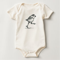 Baby bird (piping plover) infant in organic cotton baby bodysuit