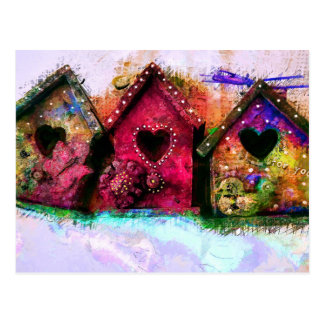 Baby Birdhouses - Colorful Art Postcard