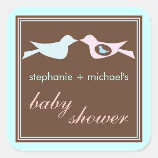 Baby Birdie Couple in Blue Baby Shower Sticker