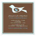 Baby Birdie in Blue Baby Shower Invitation