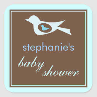 Baby Birdie in Blue Baby Shower Sticker