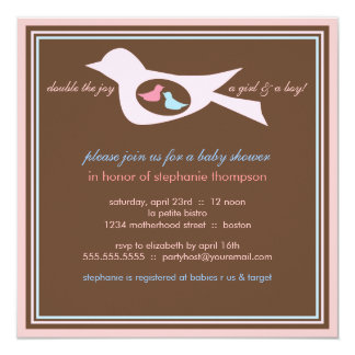 Baby Birdie Twins Pink Blue Baby Shower Invitation