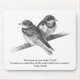 Baby Birds: Bible Verse: Psalms: Pencil Realism Mouse Pad