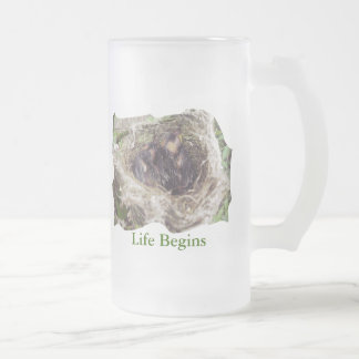 Baby Birds Frosted Glass Beer Mug