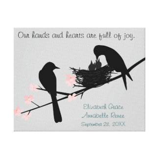 Baby Birds in Nest  Personalized for Twins Gallery Wrap Canvas