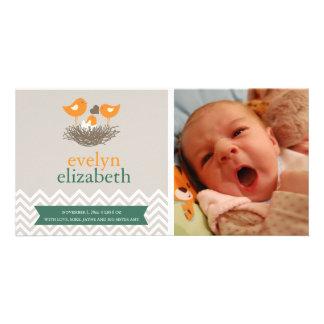 Baby Bird's Nest Baby Announcement - Chevron Custom Photo Card