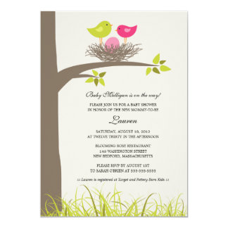 Baby Bird's Nest Baby Girl Shower Card