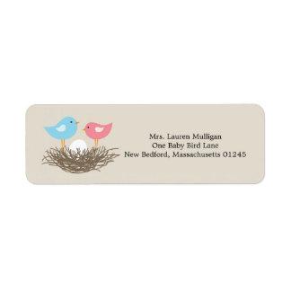 Baby Bird's Nest Baby Shower Label