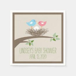 Baby Bird's Nest   Baby Shower Paper Napkin